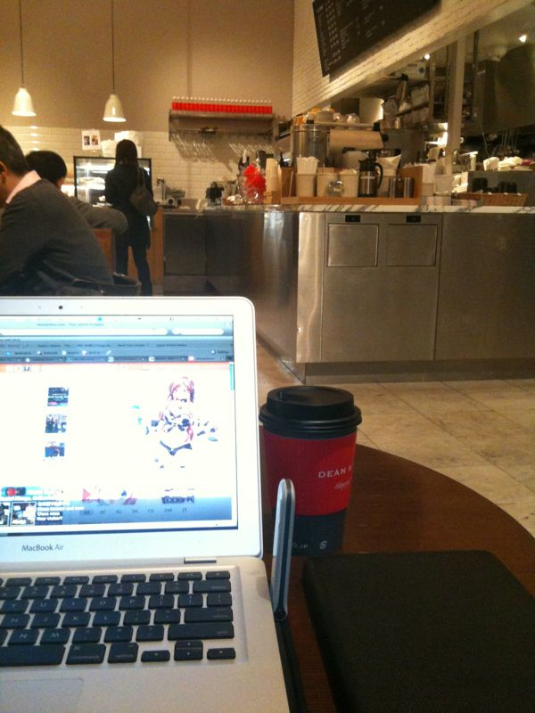 MacBook Air in a coffee shop with WiFi